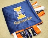 Personalized Illini Sensory Ribbon Tag Blanket Blue and Orange