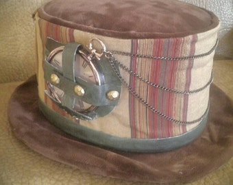 Steampunk, Mad Hatter, Mad Scientist, Victorian, Edwardian, Time Traveler, Full Size Top Hat