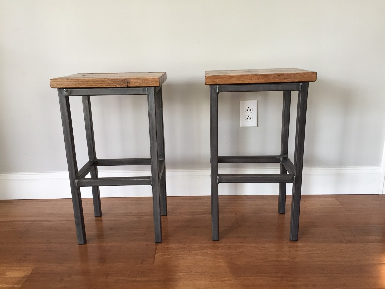 Reclaimed wood bar stools handmade in denver by stolcodesigns