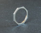 Silver Octagonal Ring - Sterling Silver