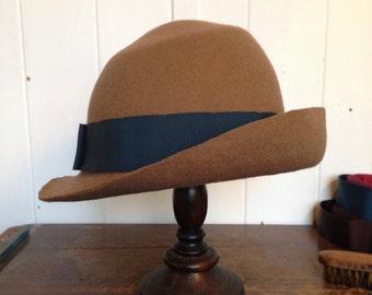 Toffee & Teal Felt Asymmetrical Hat