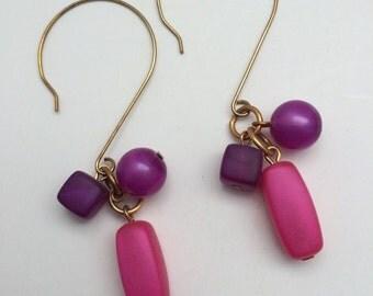 Beaded drop earrings, Pink & Purple frosted bead earrings, bohemian earrings, Dangle earrings