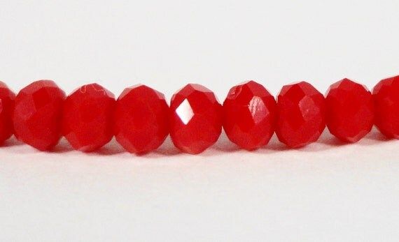 Rondelle Crystal Beads 3x2mm (2x3mm) Opaque Red Tiny Faceted Chinese Crystal Glass Beads for Jewelry Making 100 Loose Beads per Package