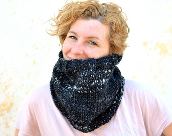 Knit black cowl, chunky snood, charcoal neckwarmer