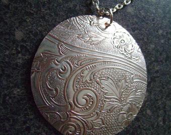 WISP - Metal Pendant, Damask Pendant, Organic Jewelry, Repurposed Necklace, Copper Pendant, Large Pendant, Unique Jewelry, Statement Jewelry