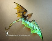 Dragon Necklace, Handmade, Golden, iridescent with white organza tied ribbon or silver plated chain.