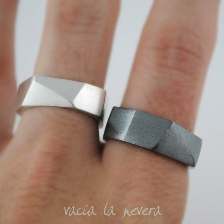 Geometric wedding rings black engagement ring by vacialanevera for Geometric wedding ring