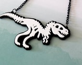 T-Rex Skeleton Acrylic Necklace - Dinosaur - Fossil - Laser Cut