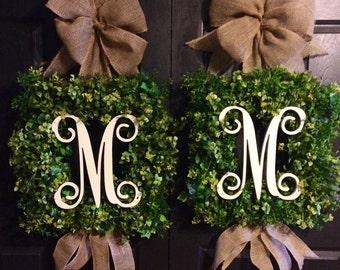 Square boxwood  Monogram Wreath