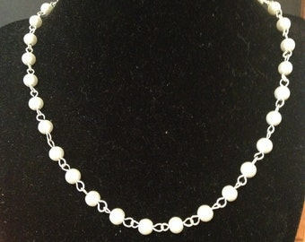 Hand Wrapped Ivory Pearl Necklace/ Wedding Styles/ Beaded Necklace/ Pearl Necklace/ Bridal Necklace