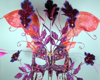 Purple Pyschadelic Angel Masquerade Mask
