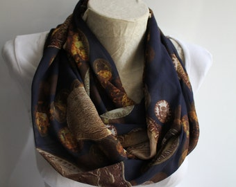 Coins Scarf, Coins Printed Infinity Scarf, Dark Blue Infinity Scarf