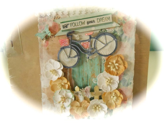 """Tag - """"FOLLOW YOUR DREAM"""" Shabby  ~ Cottage Chic Tag - 5"""" x 8"""" Tag"""