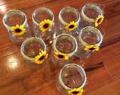 Sunflower decorated mason jars