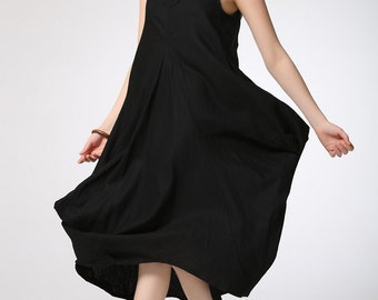 Linen Summer Dress - Black Linen Casual Comfortable Plus Size Fashion Clothing Loose-Fitting Sleeveless Travelling Dress (C419)