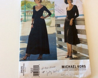 Vogue Michael Kors Pattern, Vogue 2625, Vogue Designer Pattern, Pullover Dress, Uncut, Size 8 10 12