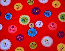 Robert Kauffman fabric- Red floral- Little Kukla cut to order available as Fat Quarter, Half Metre or Full Metre