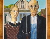 """Copy of the painting by Grant Wood """"American Gothic"""" FREE SHIPPING"""