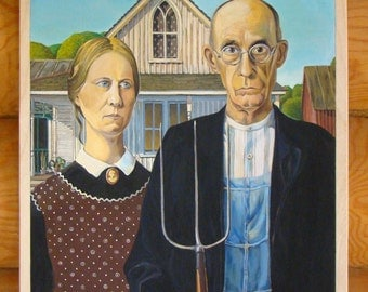 "Copy of the painting by Grant Wood ""American Gothic"""
