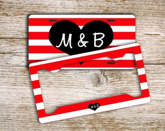 Gifts for teen daughters, Monogram front license plate or frame, Personalized bike plate, Custom car tag, Red white stripe accessory  (1391)