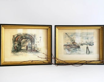 Vintage Jan Korthals Framed Prints, Set of 2 Korthals Prints, Framed Vintage Artwork, Rotterdam, Maastricht, signed lithograph prints