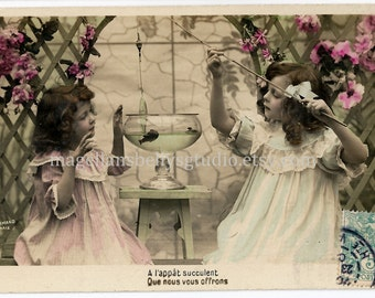 French RPPC Digital Download 1910's Girls Fishing in Fish Bowl  Real Photo Post Card Hand Tinted Aqua Pink Green  Blue  Pastel