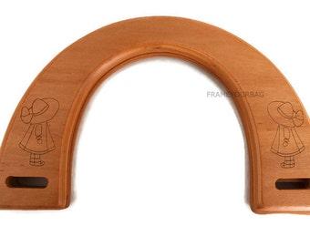 1 pair of wood bag handles honey color 18cmX12cm (7,09 inX4,72 in) - WH22