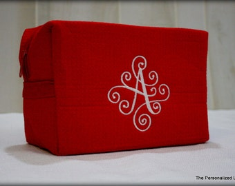 Monogrammed Cosmetic Bag - Personalized 3 Letter Monogram Make-up Bag Bridesmaid Gift Wedding Gift