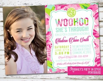 Lilly Inspired Graduation Invitation with photo