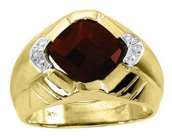Simulated Garnet & Diamond  Ring 14K Yellow or 14K White Gold