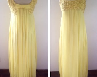1960s Vintage Women's Lemon Yellow Chiffon Gala Dress