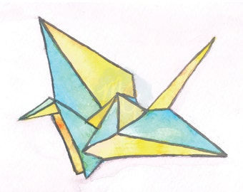Origami Crane Watercolor Print