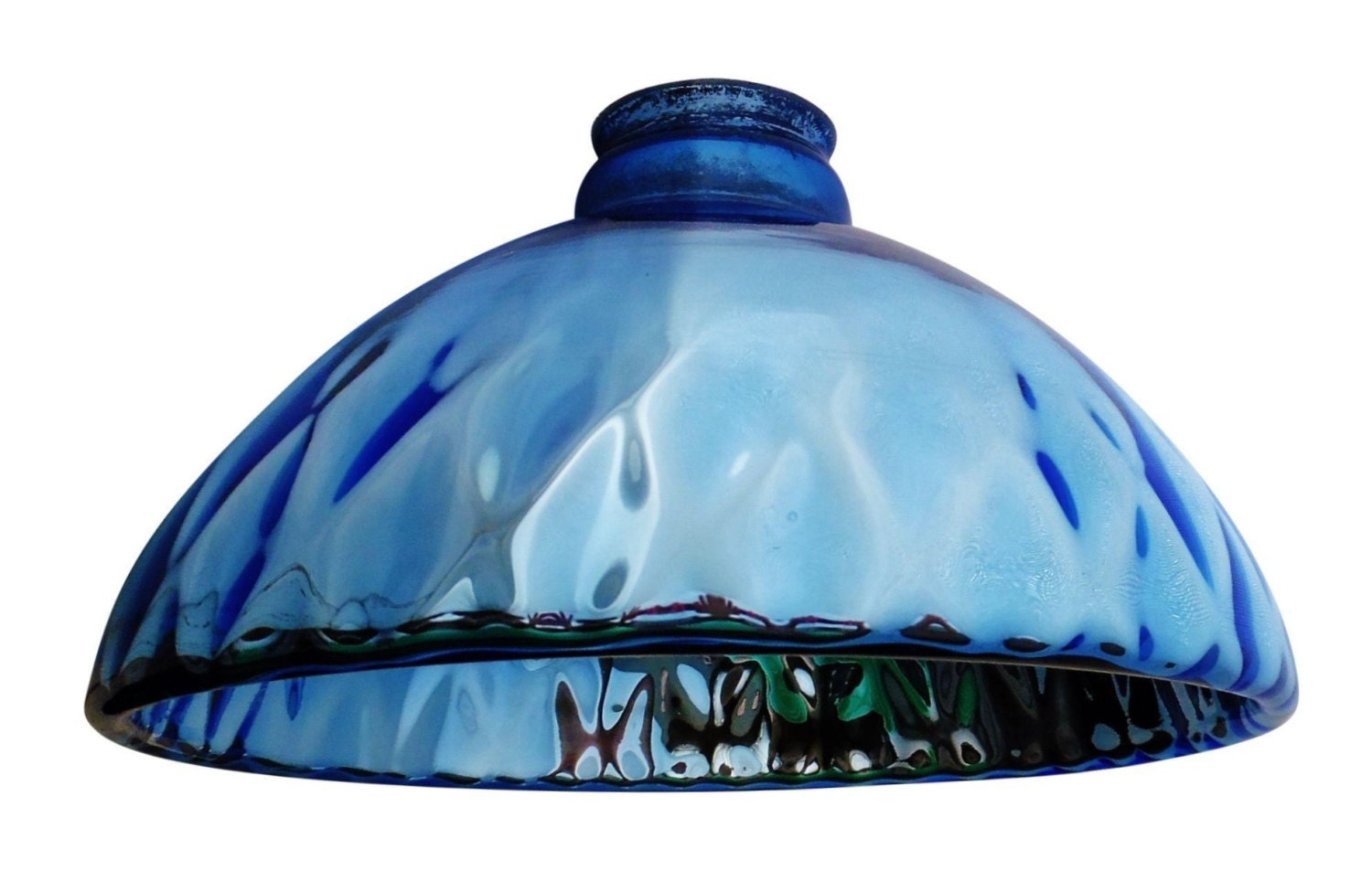 Vintage Blue Mercury Glass Pendant Light Shades A Set Of 3