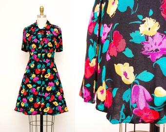 Vintage 90s Black Floral Mini Dress / Short Sleeves / Rayon Mini Skirt / Size MED