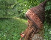 WayferersRise~upcycled folk HOOD-Knit and Lace Cotton w/ lace trim