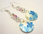 Unique Dangle Earrings: Blue Flower Patterned Mother of Pearl Disks & Blue, Orange, Pink Splashed Clear Glass Beads- Hypoallergenic