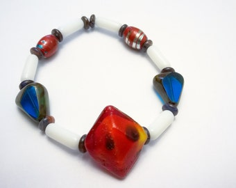 Red Lampwork Bead with Blue Czech Glass and White and Stirped Red Barrel Glass Beaded Stretch Bracelet