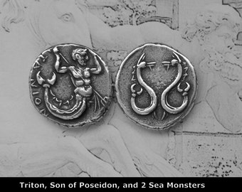 Coin of TRITON, Messinger of the Big sea, Son of Poseidon, and 2 Sea Monsters, 24K Gold OR Antique Silver Finish, (14-S OR 14-G)