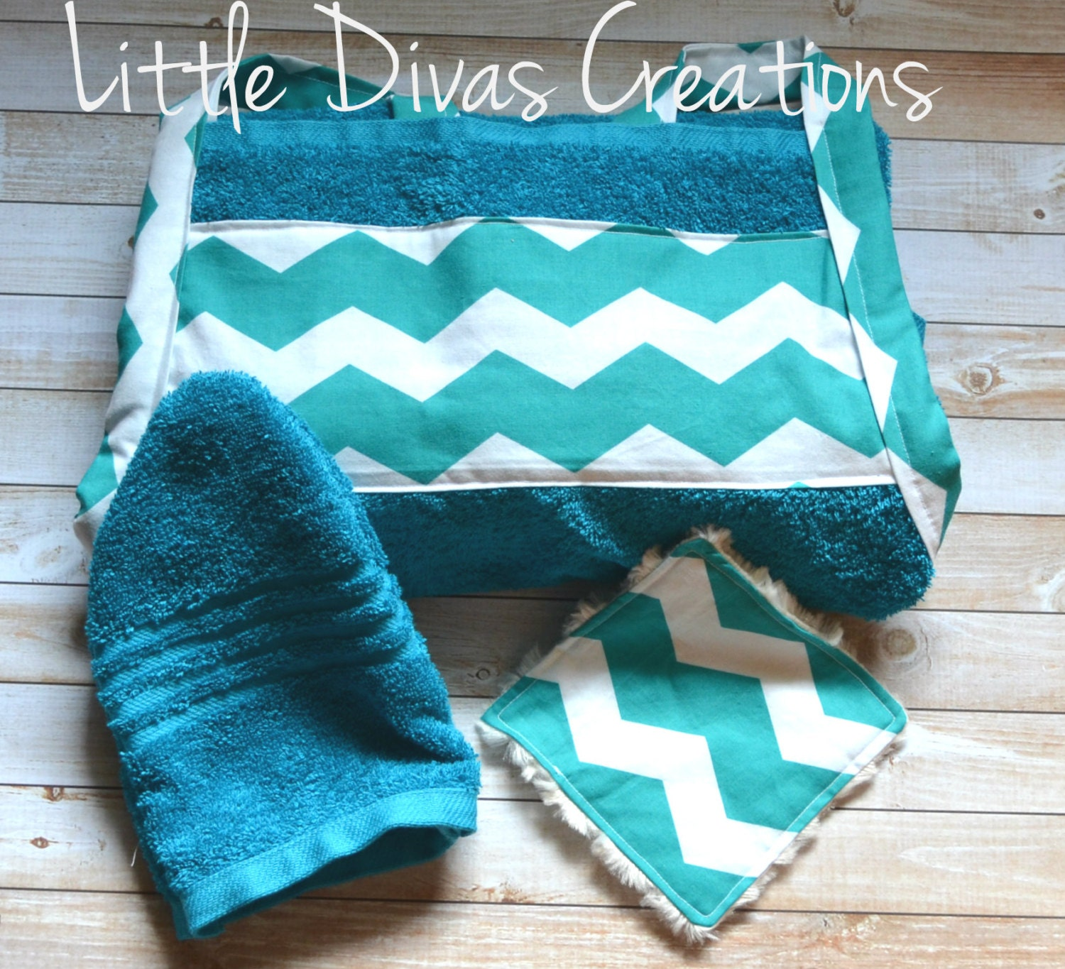 Teal chevron baby bath towel apron set for Teal bath sets
