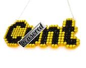 NSFW Mature C*nt Crystal Encrusted Word Necklace - Riot Grrrl Punk Feminist Jewellery - Custom Coloured Swear Curse Word Jewelry