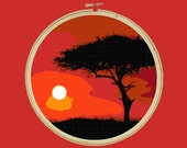 Sunset Red 01 - Modern Cross Stitch Art Pattern - Instant Download