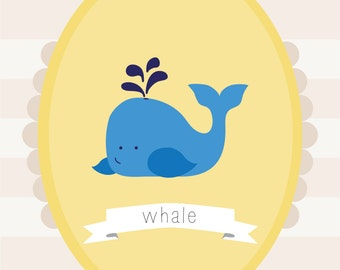Customizable Whale Nursery Print