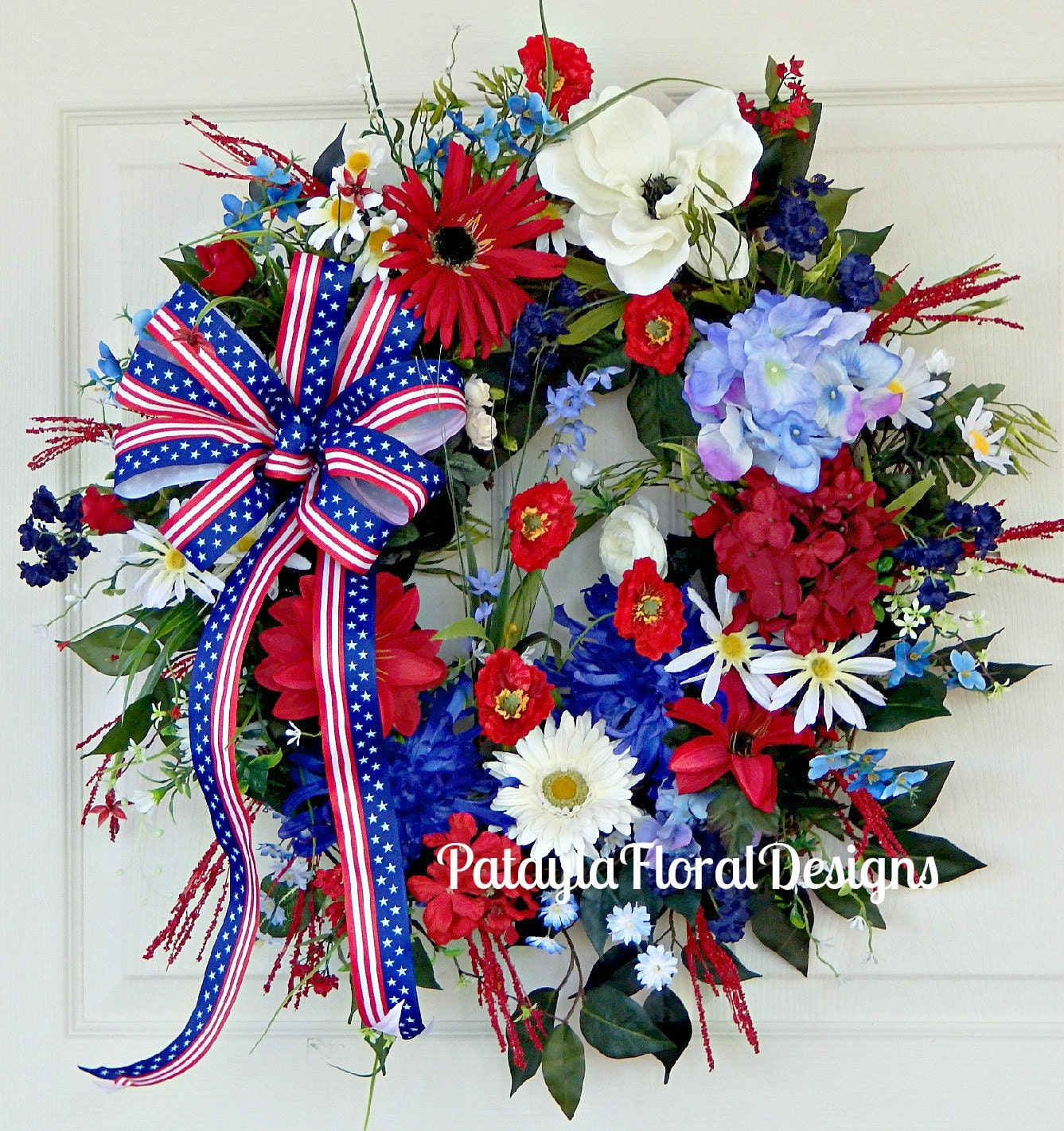 Patriotic Wreath Red White And Blue Bow Memorial Day Front