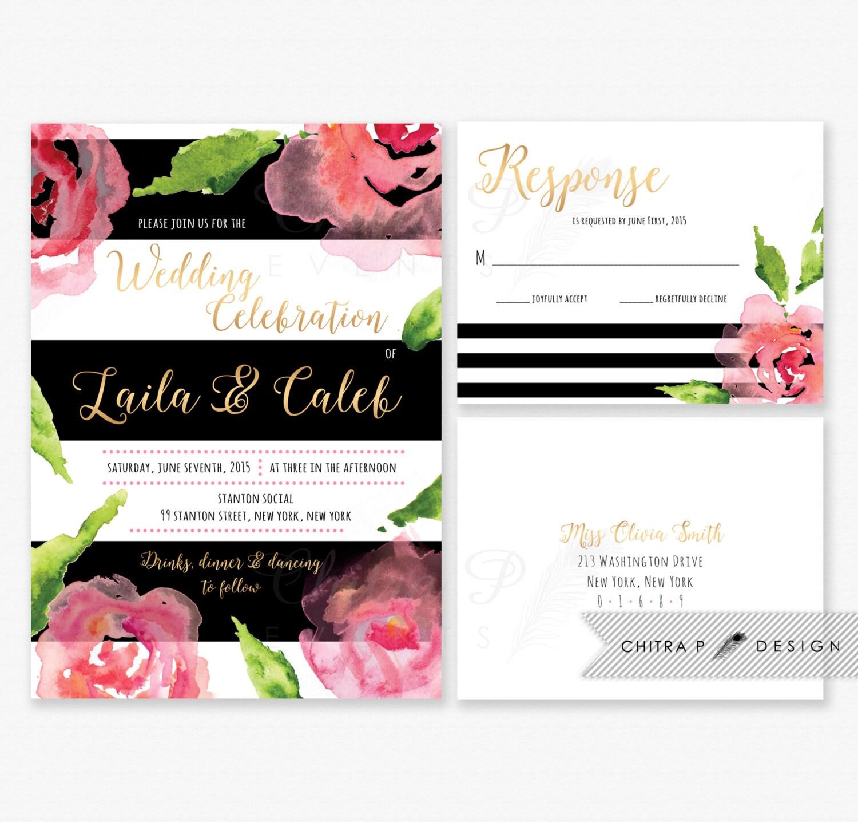 Black White Stripe Wedding Invitation RSVP Postcard – Black White and Pink Wedding Invitations