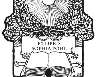 Bookplate Rubber Stamp, Book and Art Nouveau