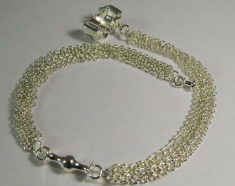 "8"" multiple strand bracelet 925 Sterling Silver Plated for European charms with free shipping."