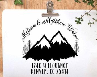 Custom Return Address Stamp, Mountain Address Stamp, Winter Address Stamp, Wedding Rubber Stamp, Calligraphy Address Stamp