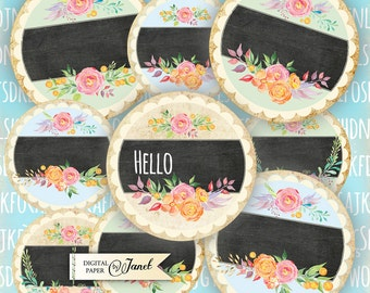 chalk board circles - 2.5 inch - set of 12 - digital collage sheet - pocket mirrors, tags, scrapbooking, cupcake toppers