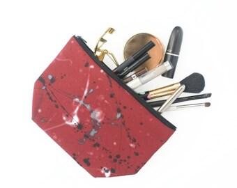 Burgundy Make Up Bag Medium Size Paint Splat Pattern Pouch
