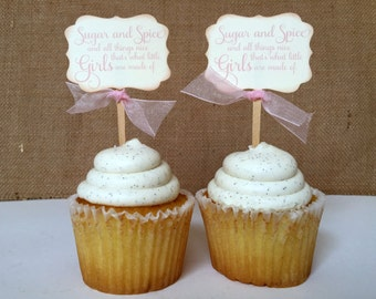 Sugar and Spice and all things Nice. Vintage Baby Girl Shower Cupcake Topper